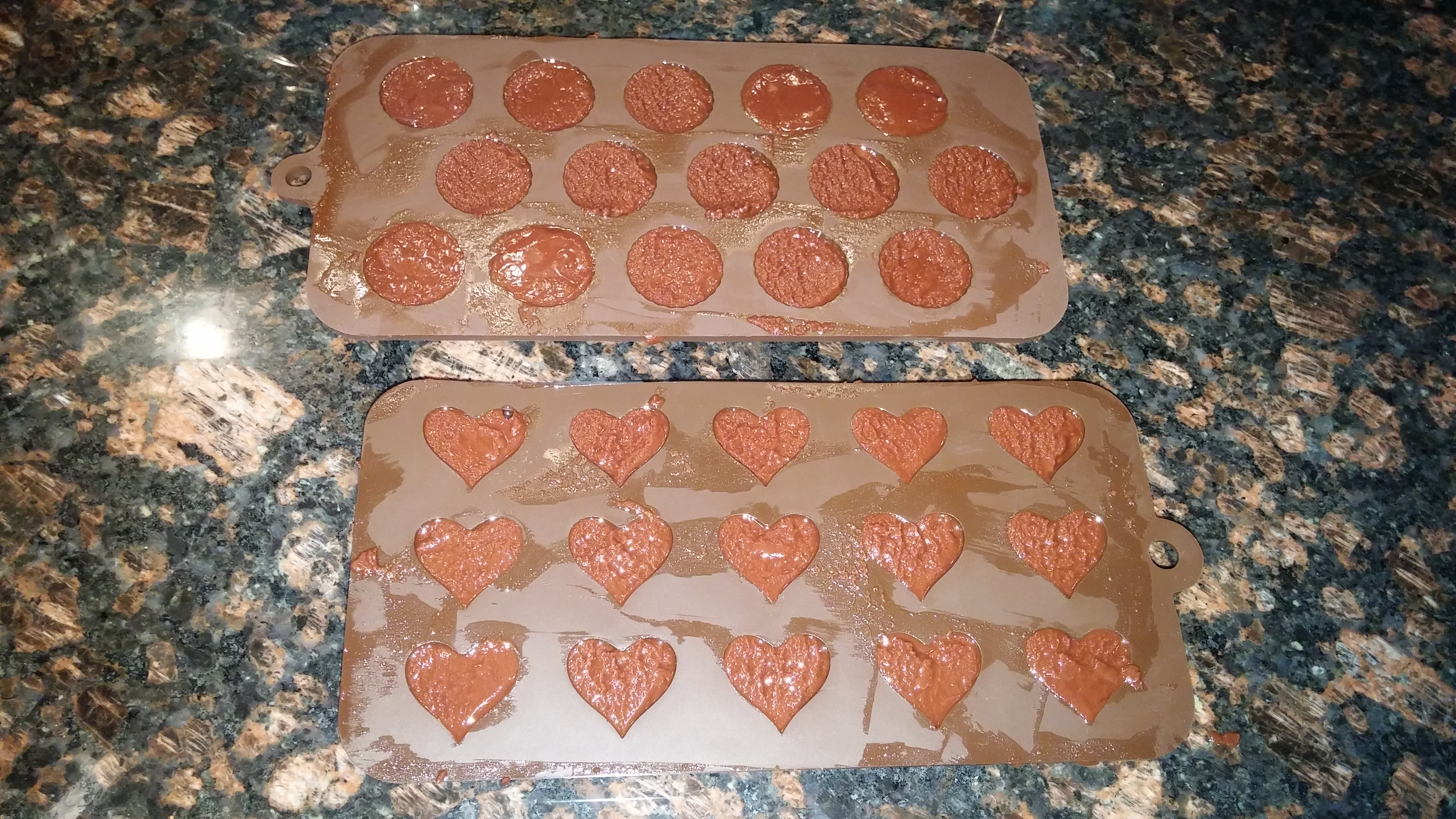 Coconut Cocoa Fudge Bites in Silicone Trays