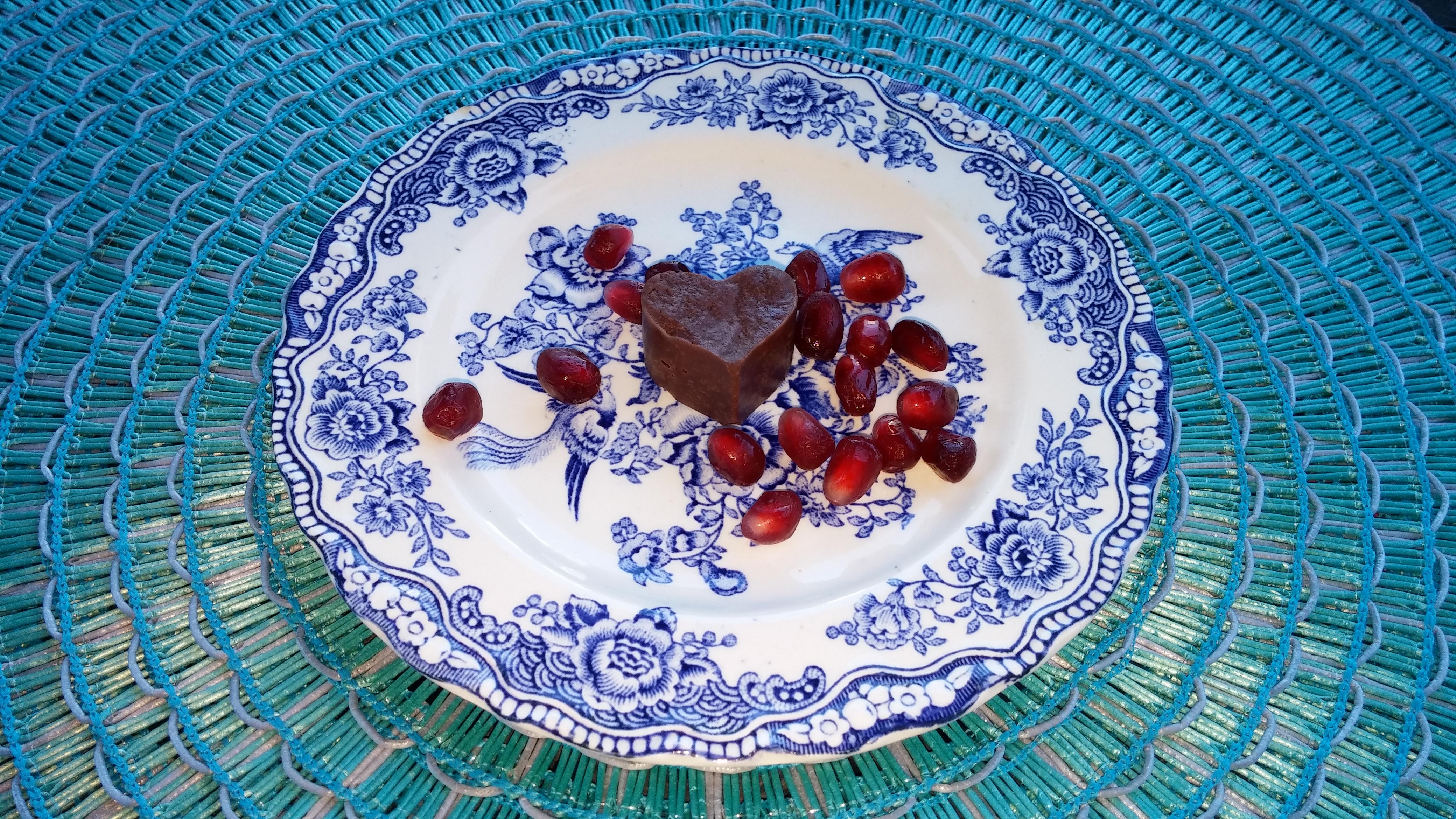 Coconut Cocoa Fudge Bites with Pomegranates