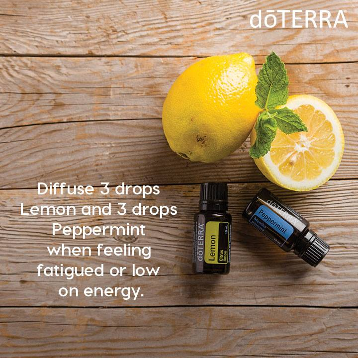 Diffuse lemon and peppermint for fatigue
